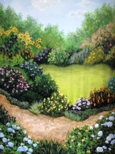 Scenic Garden Backdrop for Theatre Still Waters Studio