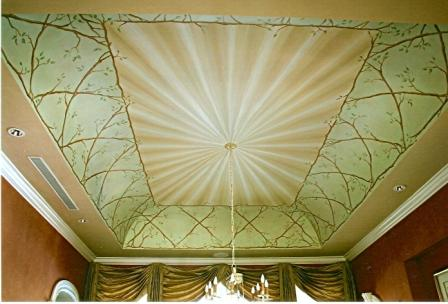 scarlet dining room ceiling